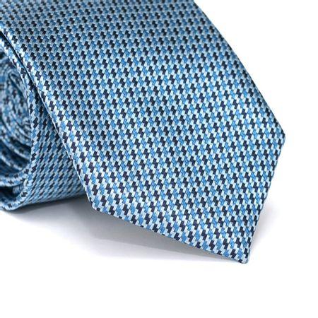 Gravata-Tradicional-em-Poliester-Falso-Liso-Azul-Claro-com-Desenhos-Geometricos-em-Azul-e-Azul-Marinho