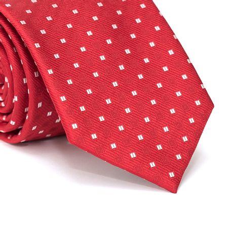 Gravata-Tradicional-em-Poliester-Vermelha-com-Desenhos-Geometricos-em-Branco-e-Vinho