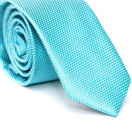 Gravata-Slim-em-Poliester-Azul-Tiffany-com-Detalhes-em-Branco-na-Trama
