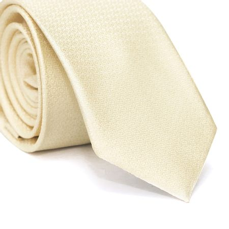 Gravata-Slim-em-Poliester-Falso-Liso-Amarelo-Claro-com-Desenhos-Geometricos-na-Trama