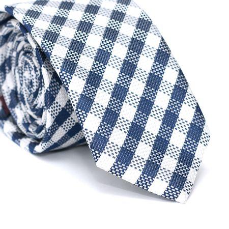 Gravata-Slim-em-Poliester-Xadrez-Azul-e-Branco-com-Riscados-Azul-e-Branco
