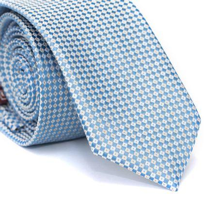 Gravata-Slim-em-Poliester-Azul-Claro-com-Quadriculado-Branco-e-Amarelo