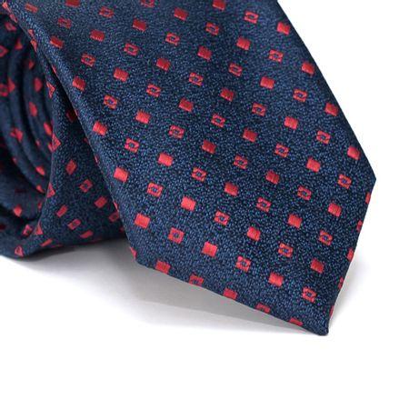 Gravata-Tradicional-em-Poliester-Falso-Liso-Azul-Marinho-com-fundo-Preto-com-Desenhos-Geometricos-em-Vermelho
