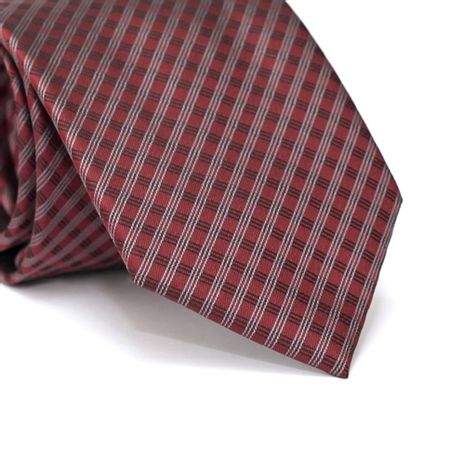 Gravata-Tradicional-em-Poliester-Vermelho-Vinho-com-Riscados-Preto-e-Branco