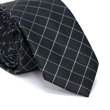 Gravata-Slim-em-Poliester-Preta-com-Quadriculado-Cinza