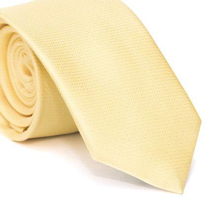Gravata-Slim-em-Poliester-Falso-Liso-Amarela-com-Detalhes-na-Trama