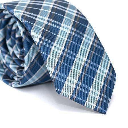 Gravata-Slim-em-Poliester-Xadrez-Azul-Bebe-e-Azul-Indigo-com-Detalhes-em-Branco-e-Cinza