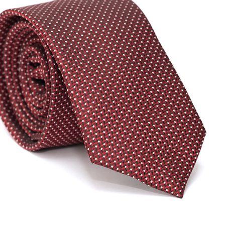 Gravata-Slim-em-Poliester-Vermelha-com-Zig-Zag-e-Fundo-Preto-e-Detalhes-em-Branco