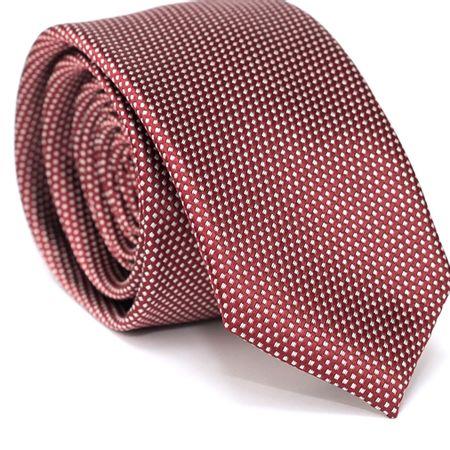 Gravata-Slim-em-Poliester-Vermelha-com-Detalhes-em-Branco-na-Trama