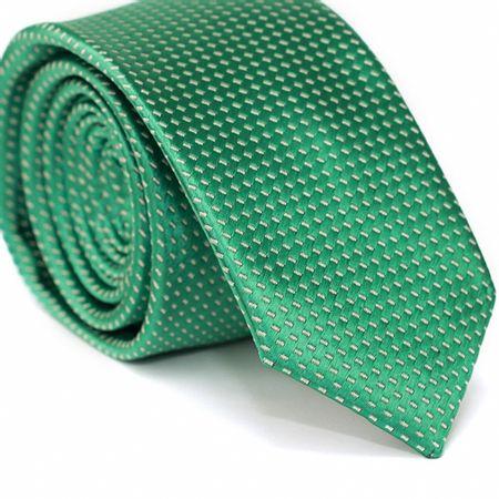 Gravata-Slim-em-Poliester-Verde-com-Detalhes-em-Branco-na-Trama