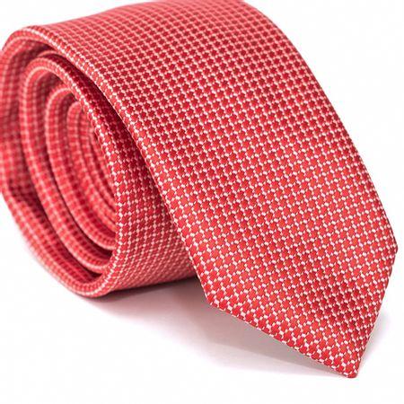 Gravata-Slim-em-Poliester-Vermelha-com-Desenhos-Geometricos-e-Fundo-Branco