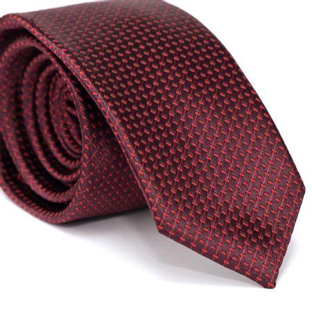 Gravata-Slim-em-Poliester-Vermelha-Escuro-com-Detalhes-em-Vermelho