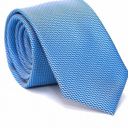 Gravata-Slim-em-Poliester-Azul-com-Zig-Zag-em-Branco