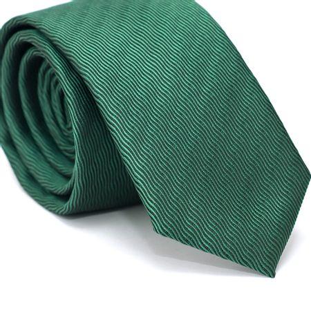Gravata-Slim-em-Poliester-Verde-com-Detalhes-em-Preto