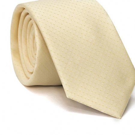 Gravata-Slim-em-Poliester-Amarelo-Claro-com-Poa-Amarelo