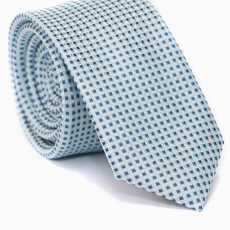 Gravata-Slim-em-Poliester-Azul-Claro-com-Quadriculado-Branco-e-Azul