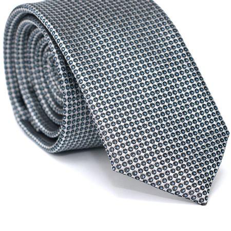 Gravata-Slim-em-Poliester-Cinza-com-Desenhos-Geometricos-em-Chumbo-com-Detalhe-Azul