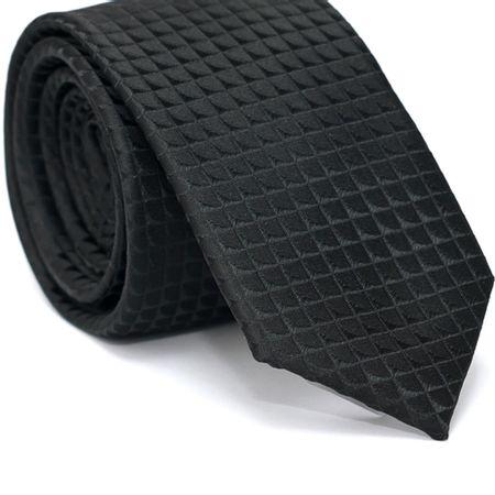 Gravata-Slim-em-Poliester-Preta-Quadriculada-com-Detalhes-em-Preto