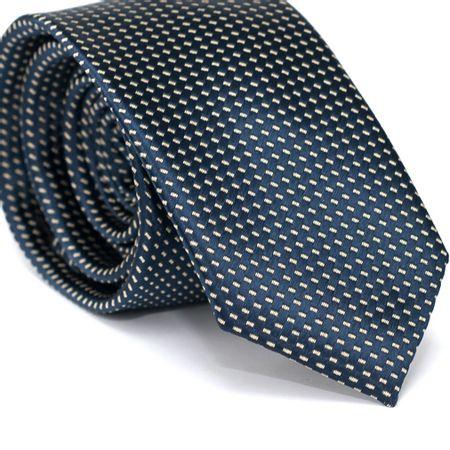 Gravata-Slim-em-Poliester-Azul-Marinho-com-Detalhes-em-Branco-na-Trama