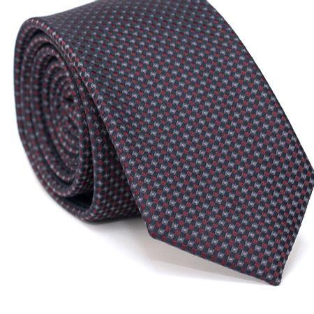 Gravata-Slim-em-Poliester-Azul-Marinho-com-Desenhos-Geometricos-em-Vinho-e-Cinza-com-Detalhes-em-Rosa