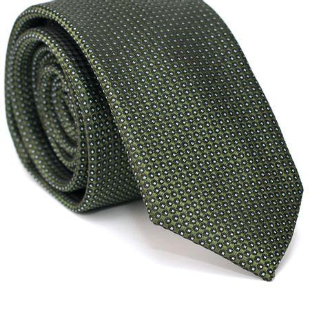 Gravata-Slim-em-Poliester-Verde-Musgo-com-Desenhos-Geometricos-em-Preto-com-Detalhes-em-Branco