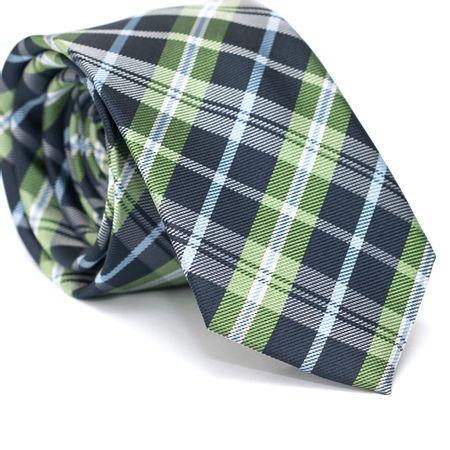 Gravata-Slim-em-Poliester-Xadrez-Azul-Marinho-e-Verde-com-Detalhes-em-Azul-e-Branco