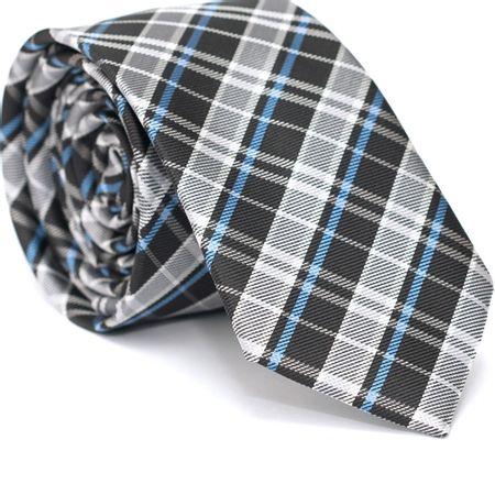 Gravata-Slim-em-Poliester-Xadrez-Cinza-e-Preto-com-Detalhes-em-Azul-e-Branco