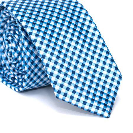 Gravata-Slim-em-Poliester-Azul-Clara-com-Quadriculado-Branco-e-Azul-Marinho