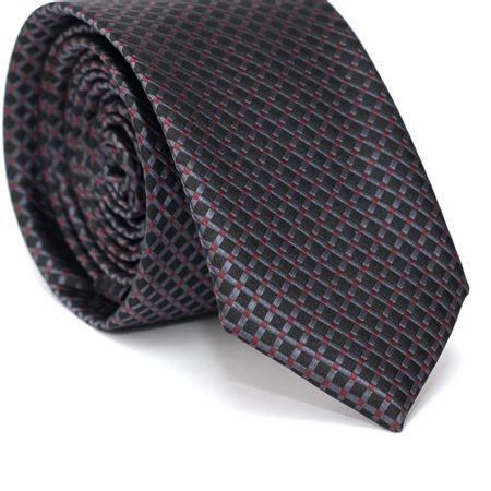 Gravata-Slim-em-Poliester-Preta-com-Quadriculado-Cinza-e-Detalhes-em-Vermelho