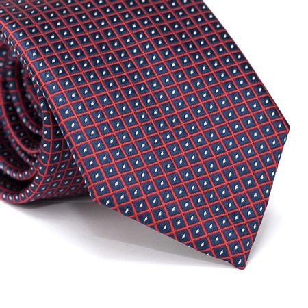 Gravata-Tradicional-em-Poliester-Azul-Marinho-com-Quadriculado-Vermelho-e-Detalhe-em-Branco