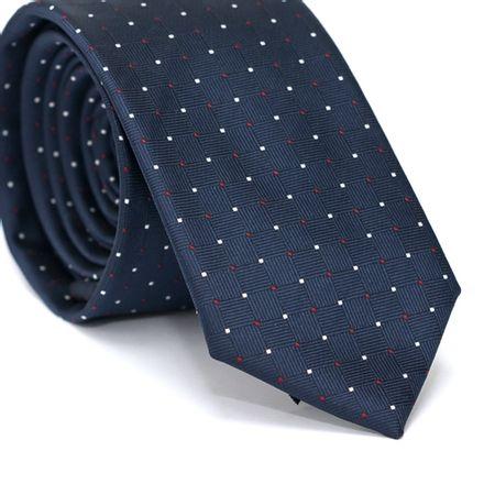 Gravata-Slim-em-Poliester-Azul-Marinho-com-Desenhos-Geometricos-e-Detalhes-em-Branco-e-Vermelho