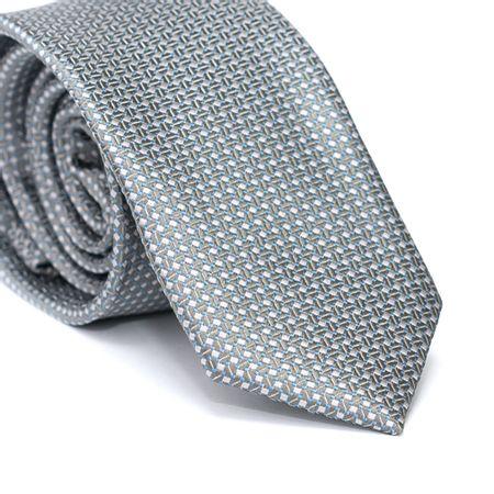 Gravata-Slim-em-Poliester-Cinza-com-Desenhos-Geometricos-em-Cinza-Claro-com-Detalhes-em-Azul