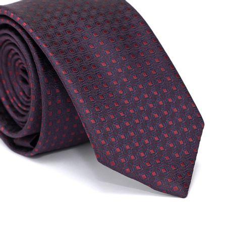 Gravata-Slim-em-Poliester-Azul-Marinho-com-Desenhos-Geometricos-Vermelho