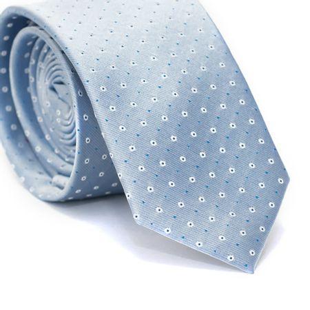 Gravata-Slim-em-Poliester-Azul-Claro-com-Detalhes-em-Branco-e-Azul