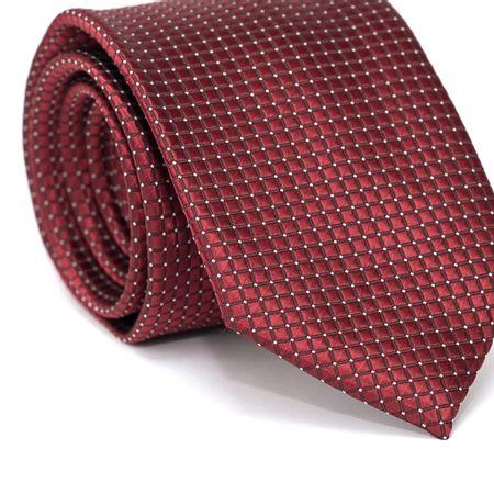 Gravata-Tradicional-em-Poliester-Vermelha-com-Quadriculado-em-Preto-com-Detalhes-em-Branco