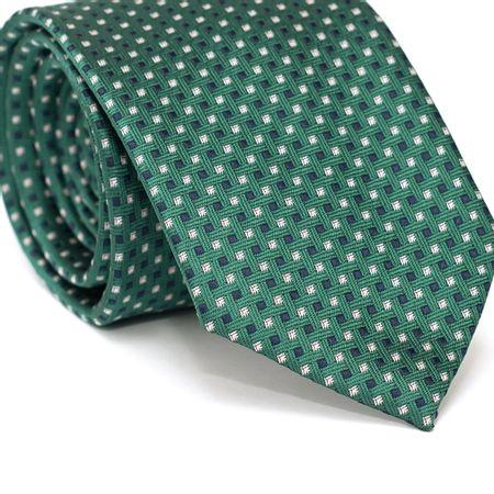 Gravata-Tradicional-em-Poliester-Verde-com-Desenhos-Geometricos-Azul-Marinho-e-Branco