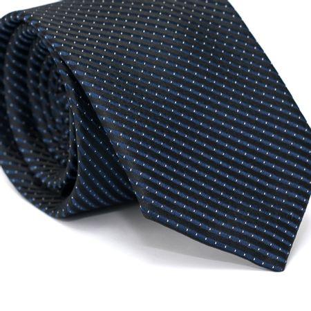 Gravata-Tradicional-em-Poliester-Preta-com-Listras-Diagonais-em-Azul-Marinho-e-Detalhes-em-Branco