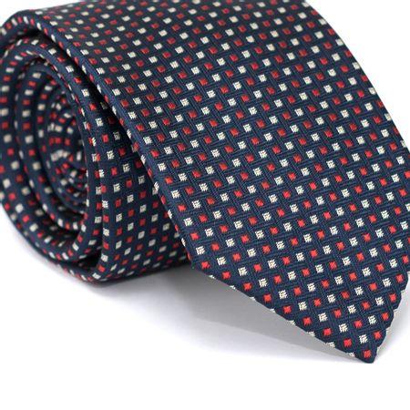 Gravata-Tradicional-em-Poliester-Azul-Marinho-com-Desenhos-Geometricos-Vermelho-e-Branco