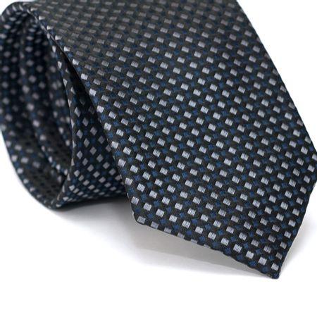 Gravata-Tradicional-em-Poliester-Preta-com-Desenhos-Geometricos-Cinza-e-Azul