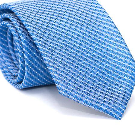 Gravata-Tradicional-em-Poliester-Azul-com-Desenhos-Geometricos-Azul-Claro-e-Branco