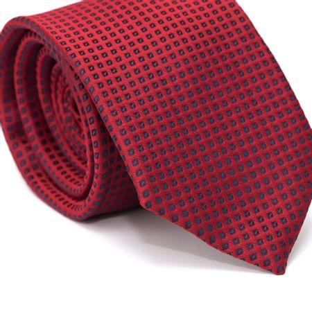 Gravata-Tradicional-em-Poliester-Vermelha-com-Desenhos-Geometricos-Azul-Marinho