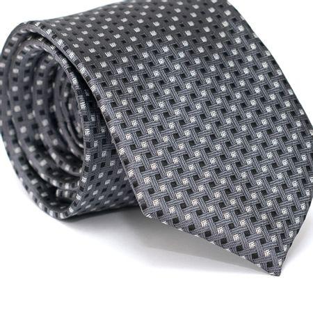 Gravata-Tradicional-em-Poliester-Cinza-com-Desenhos-Geometricos-Preto-e-Branco