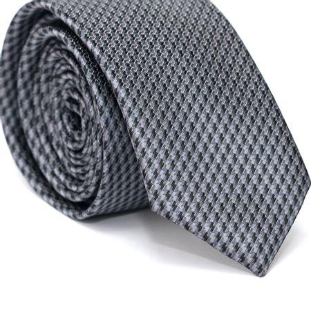 Gravata-Slim-em-Poliester-Cinza-com-Desenhos-Geometricos-Preto-e-Grafiti