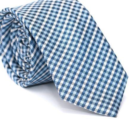 Gravata-Slim-em-Poliester-Xadrez-Azul-Celeste-Azul-e-Branco-com-Detalhes-em-Preto