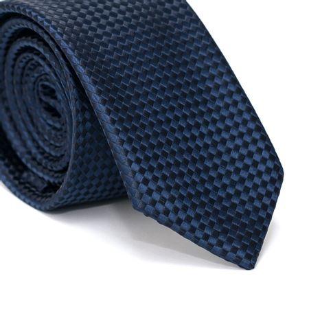 Gravata-Slim-em-Poliester-Azul-Marinho-com-Quadriculado-Preto