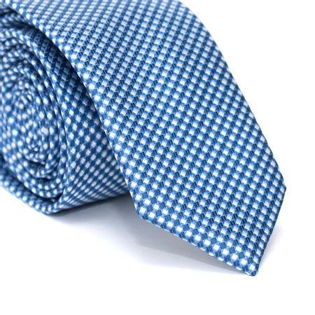 Gravata-Slim-em-Poliester-Xadrez-Azul-e-Branco-com-Desenhos-Geometricos-em-Azul-Marinho
