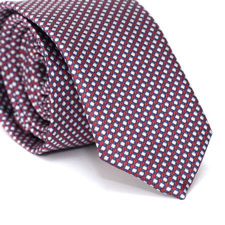 Gravata-Slim-em-Poliester-Xadrez-Azul-e-Branco-com-Desenhos-Geometricos-em-Vermelho