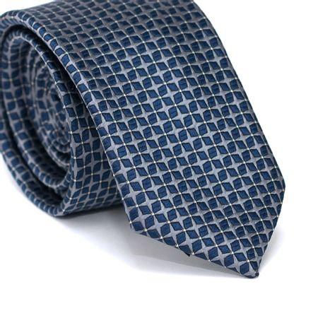 Gravata-Slim-em-Poliester-Cinza-com-Desenhos-Geometricos-Azul-Marinho-com-Detalhes-em-Branco