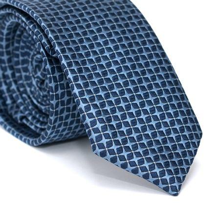 Gravata-Slim-em-Poliester-Azul-com-Desenhos-Geometricos-Azul-Marinho-com-Detalhes-em-Branco