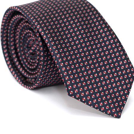 Gravata-Slim-em-Poliester-Azul-Marinho-com-Quadriculado-Vermelho-com-Detalhes-em-Branco